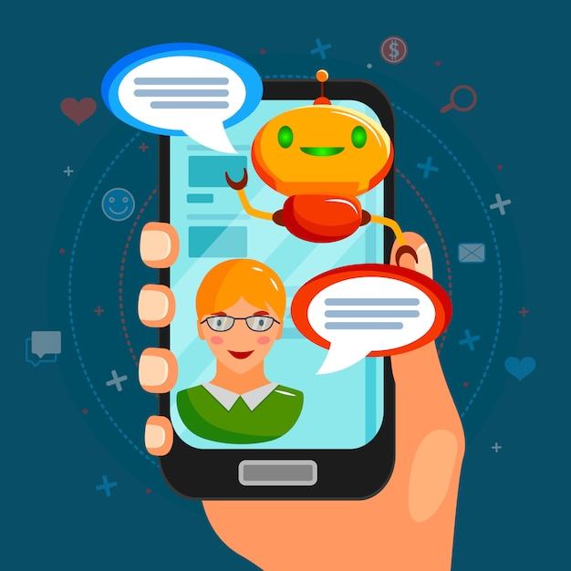 Composizione piatta bot chat Vettore gratuito
