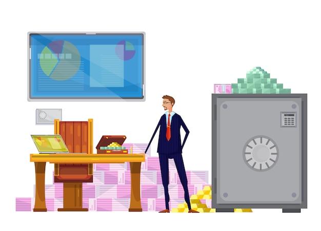 Composizione piatta con operatore finanziario Vettore gratuito