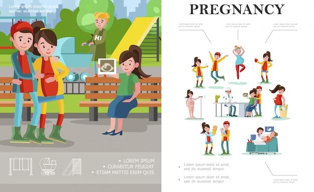 Composizione piatta in gravidanza e maternità con futuri genitori che camminano nel parco e donne in gravidanza in diverse situazioni Vettore gratuito