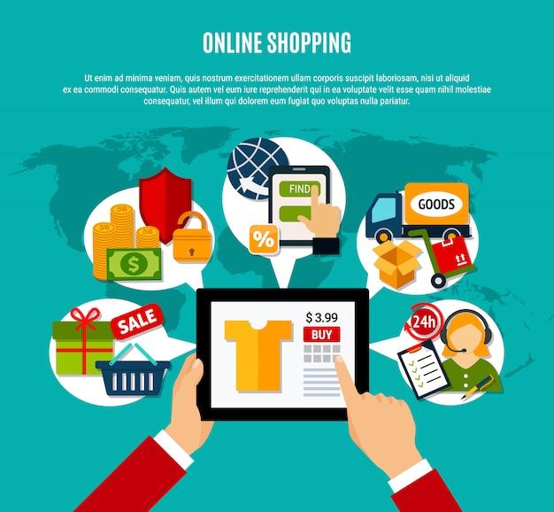 Composizione piatta shopping in internet Vettore gratuito