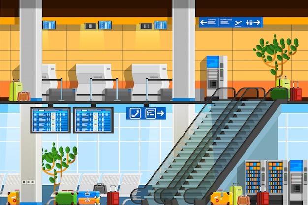 Composizione piatta terminal aeroportuale Vettore gratuito