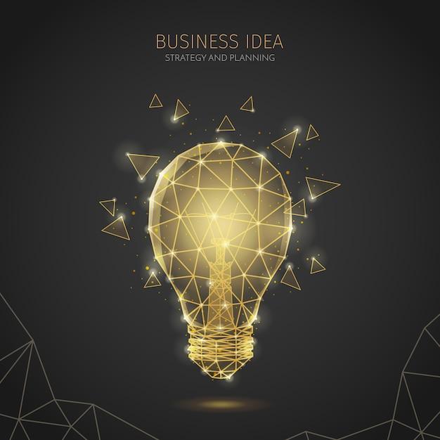 Composizione poligonale del fondo di strategia aziendale del wireframe con testo modificabile e l'immagine della lampada a incandescenza con i poligoni Vettore gratuito