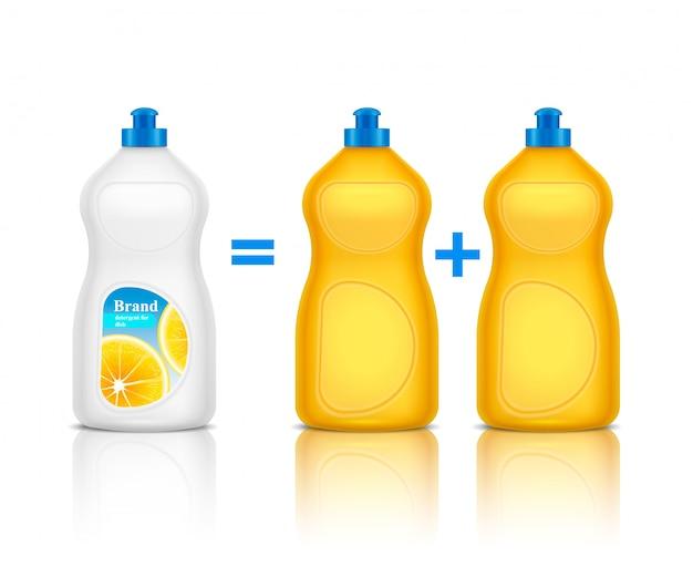 Composizione realistica di pubblicità del detersivo con la promozione della nuova bottiglia di marca rispetto ad altre illustrazioni del detergente Vettore gratuito