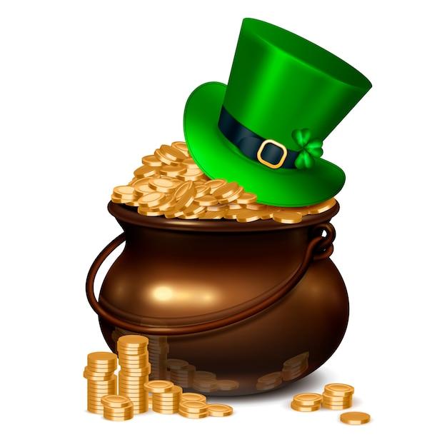 Composizione realistica in giorno di patricks compreso vaso pieno di monete d'oro ricoperte di cappello color smeraldo decorato con illustrazione di fibbia e acetosella Vettore gratuito