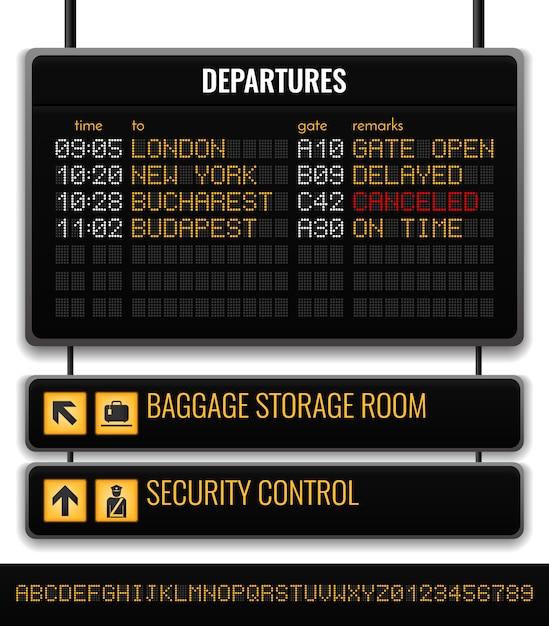 Composizione realistica nel bordo nero dell'aeroporto con l'illustrazione dei puntatori del deposito bagagli e di controllo di sicurezza del bagaglio Vettore gratuito