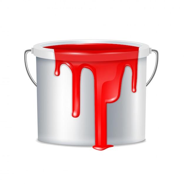 Composizione realistica nel secchio della pittura metallica con il coperchio di plastica bianco del secchio e l'illustrazione rossa della pittura Vettore gratuito