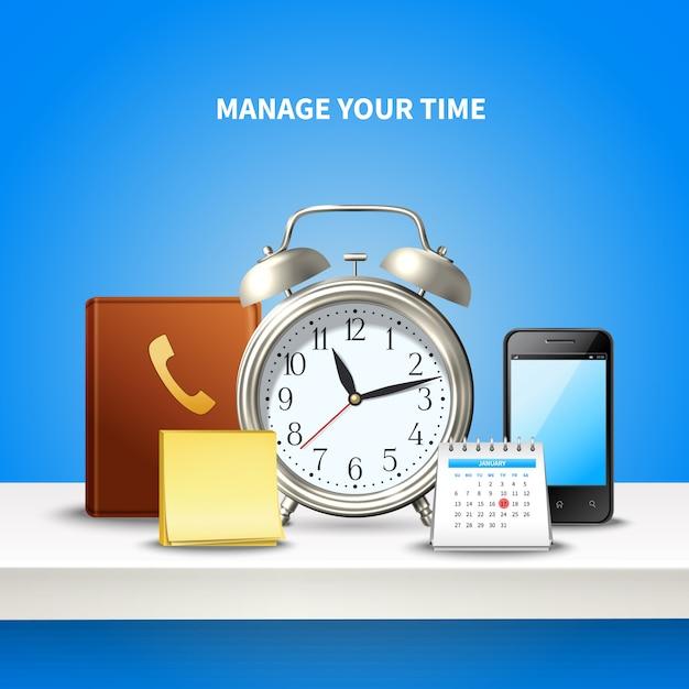 Composizione realistica nella gestione del tempo Vettore gratuito