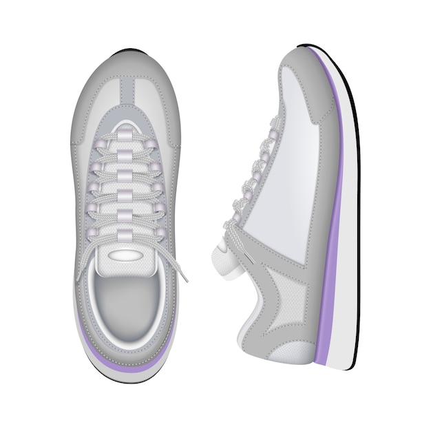 Composizione realistica nella vista superiore e laterale delle scarpe da tennis bianche correnti d'avanguardia di addestramento delle scarpe da tennis di vista del primo piano Vettore gratuito
