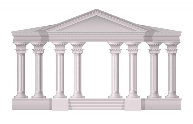 Composizione realistica nelle colonne bianche antiche realistiche su bianco Vettore gratuito