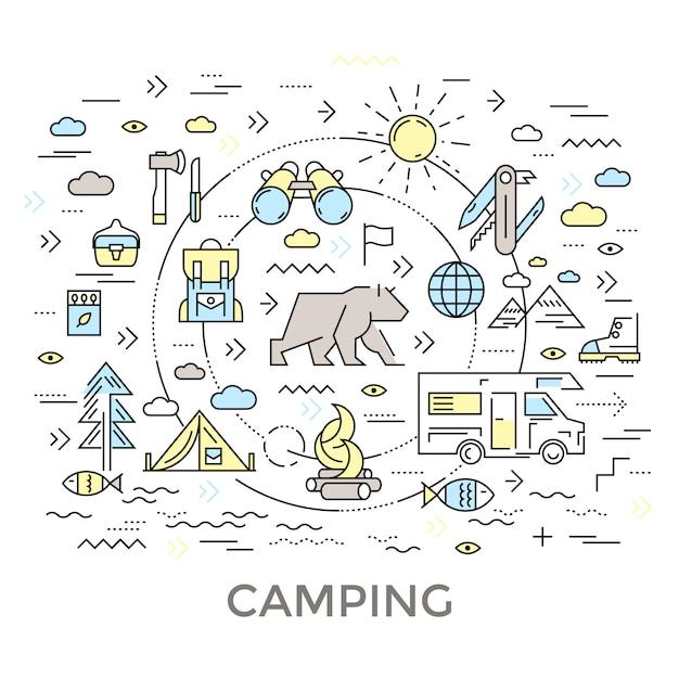 Composizione rotonda da campeggio Vettore gratuito