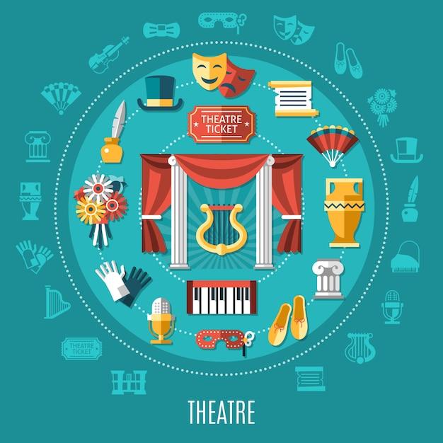 Composizione rotonda del teatro Vettore gratuito