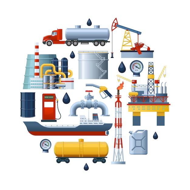 Composizione rotonda dell'industria petrolifera Vettore gratuito