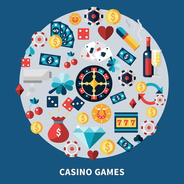 Composizione rotonda di giochi di casinò Vettore gratuito