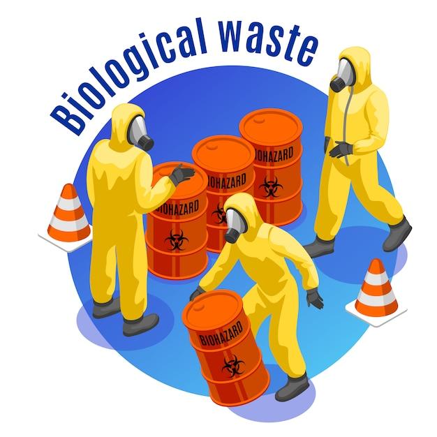 Composizione rotonda isometrica dei rifiuti tossici con smaltimento sicuro di materiali medici biologici e infettivi pericolosi Vettore gratuito