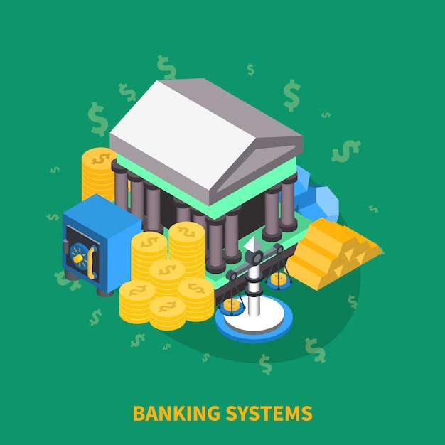 Composizione rotonda isometrica dei sistemi bancari Vettore gratuito