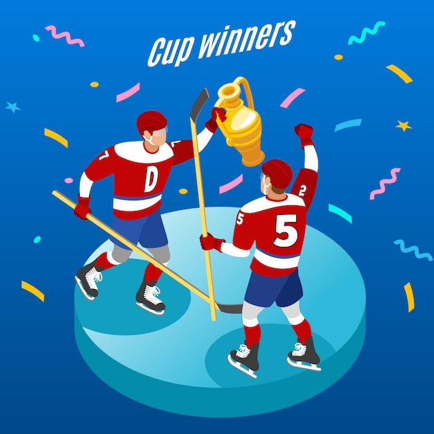 Composizione rotonda isometrica di celebrazione dei vincitori della tazza di hockey su ghiaccio con due giocatori con il trofeo festivo Vettore gratuito
