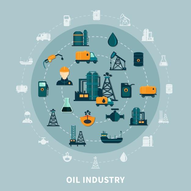 Composizione rotonda nelle icone del petrolio Vettore gratuito
