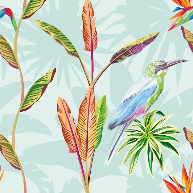 Composizione senza cuciture della carta da parati del modello dei fiori tropicali delle foglie e della menta verde dell'uccello Vettore Premium