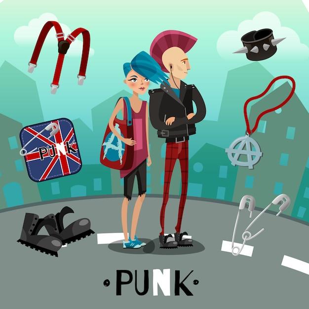Composizione sottocultura punk Vettore gratuito