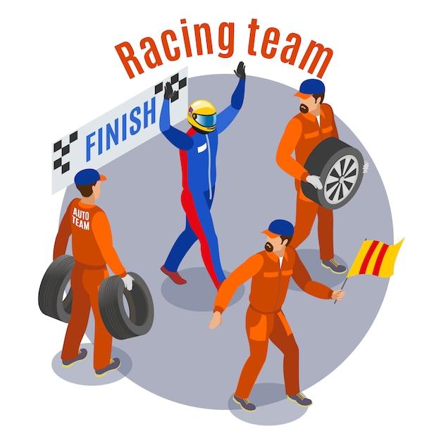 Composizione sportiva da corsa con team racinf al traguardo simboli isometrici Vettore gratuito