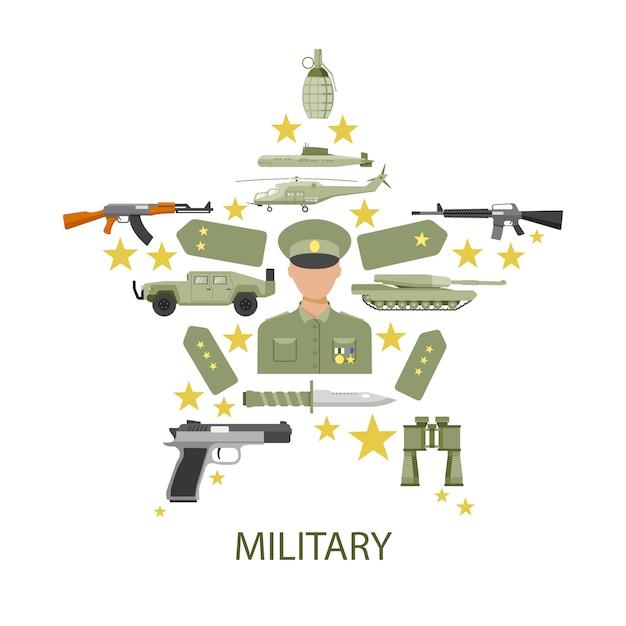 Composizione stella dell'esercito Vettore gratuito