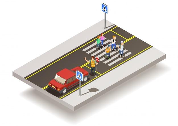 Composizione stradale di zebra crossing Vettore gratuito