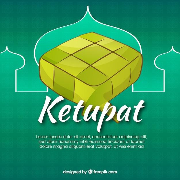 Composizione tradizionale ketupat con design piatto Vettore gratuito