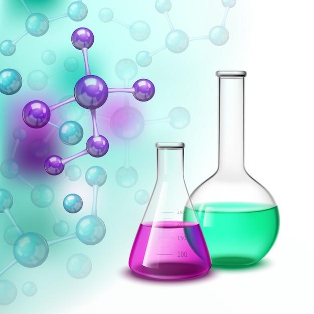 Composizione variopinta delle molecole e dei vasi Vettore gratuito