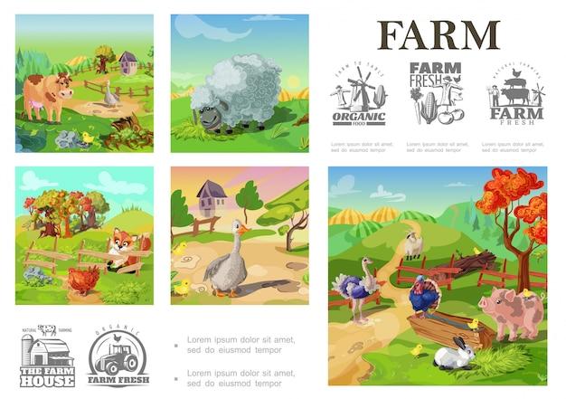 Composizione variopinta negli animali da allevamento del fumetto con il pollo dell'oca della capra del coniglio dell'oca del gallo del tacchino della mucca del maiale delle pecore su paesaggio rurale e sugli emblemi di azienda agricola Vettore gratuito