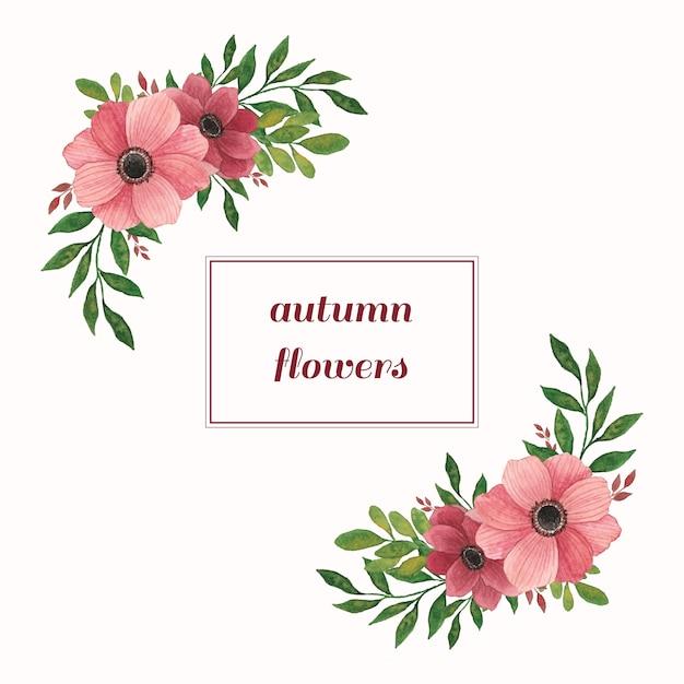 Composizioni acquerellate con fiori e foglie calde Vettore Premium
