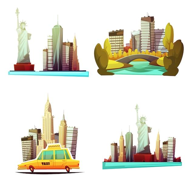 Composizioni del centro di new york del fumetto con il parco centrale della carrozza della statua della libertà di skylines giallo Vettore gratuito