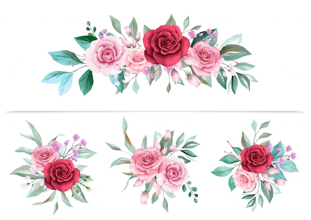 Composizioni floreali ad acquerello Vettore Premium