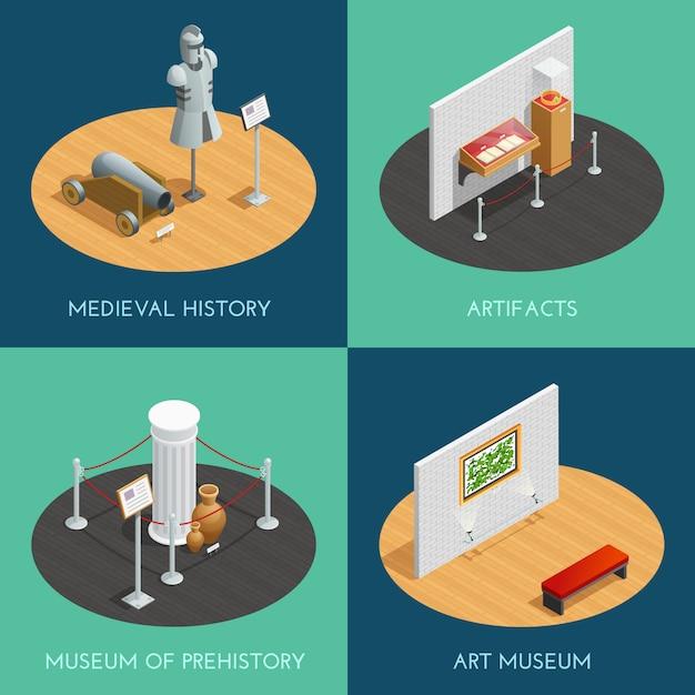 Composizioni museali che presentano diverse mostre preistoriche manufatti di storia medievale Vettore gratuito