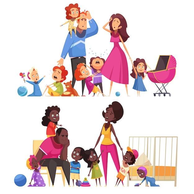 Composizioni orizzontali nella grande famiglia due con l'illustrazione piana di vettore di molti piccoli bambini e genitori stanchi Vettore gratuito
