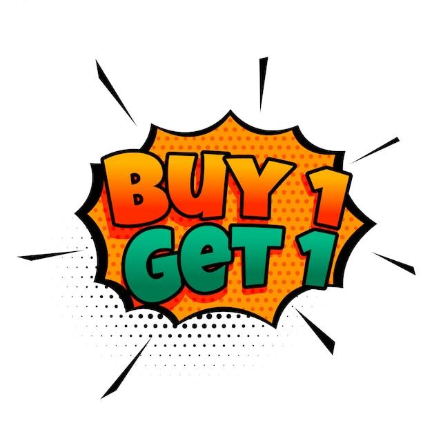 Compra uno prendi una vendita in stile fumetto Vettore gratuito