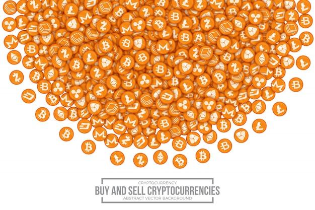 Compri la vendita dell'illustrazione concettuale di vettore di cryptocurrencies Vettore Premium