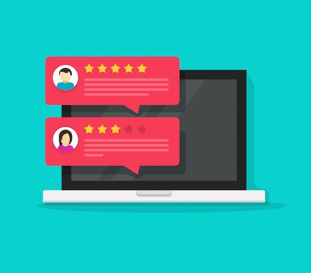 Computer con il fumetto piatto di messaggi di chat di valutazione dei clienti recensione Vettore Premium