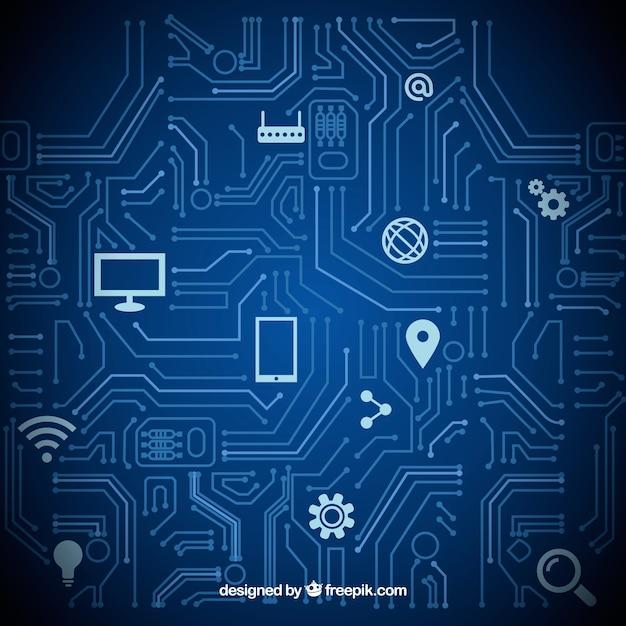 Computer di icone tecnologia sfondo illustrazione set Vettore gratuito