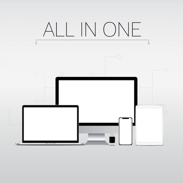 Computer e gadget Vettore Premium