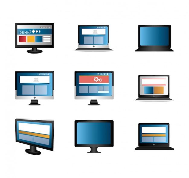 Computer e laptop Vettore gratuito