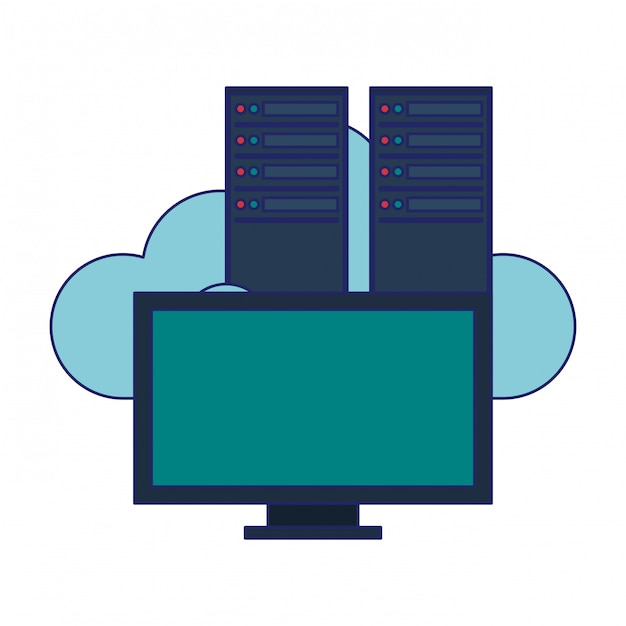 Computer e server cloud computing Vettore Premium