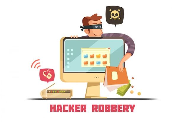 Computer hacker rompendo il codice di sicurezza per accedere al conto bancario e rubare denaro Vettore gratuito