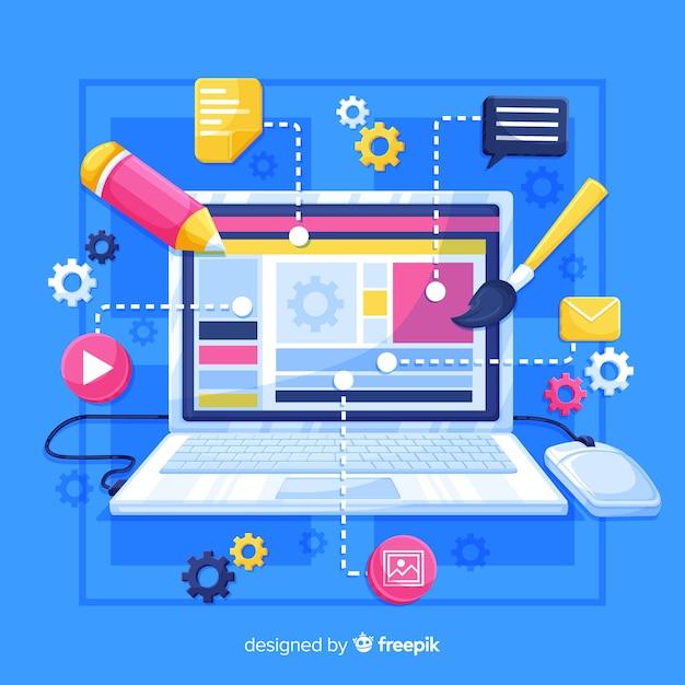 Computer infografica colorato Vettore gratuito