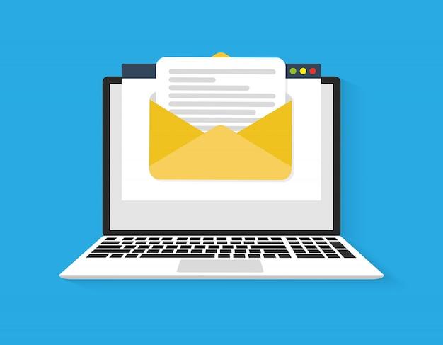 Computer portatile con busta e schermo per documenti. e-mail, icona e-mail Vettore Premium