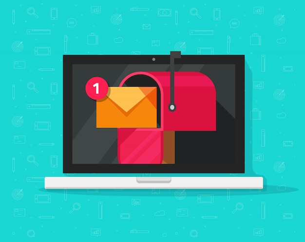 Computer portatile con cassetta postale sullo schermo e nuovo messaggio ricevuto Vettore Premium