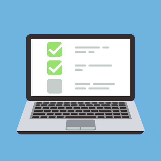 Computer portatile con elenco di controllo del modulo di quiz online sullo schermo. concetto del fumetto di vettore di scelta e indagine. illustrazione della lista di controllo del computer, della lista di scelta e del quiz in linea Vettore Premium