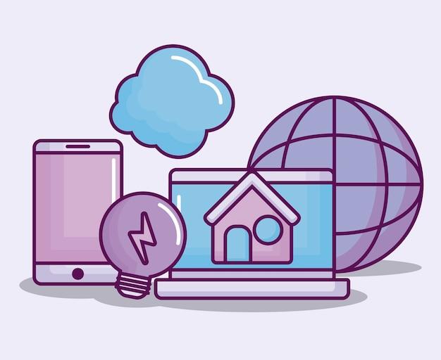 Computer portatile con icone di affari elettronici Vettore gratuito
