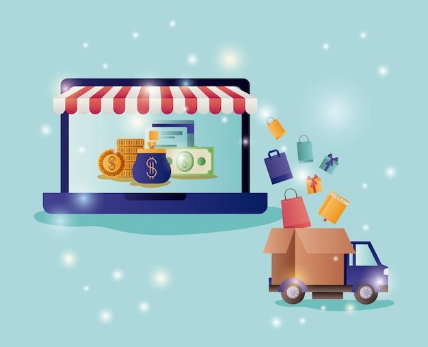 Computer portatile con icone di e-commerce e parasole Vettore Premium