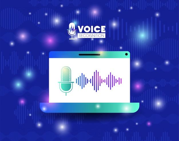 Computer portatile con tecnologia di riconoscimento vocale Vettore Premium