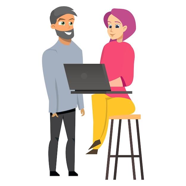 Computer portatile funzionante della donna e del giovane Vettore Premium